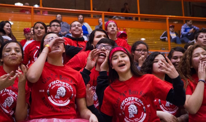 The Pine Ridge student section during the 2018 Class A state tournament.