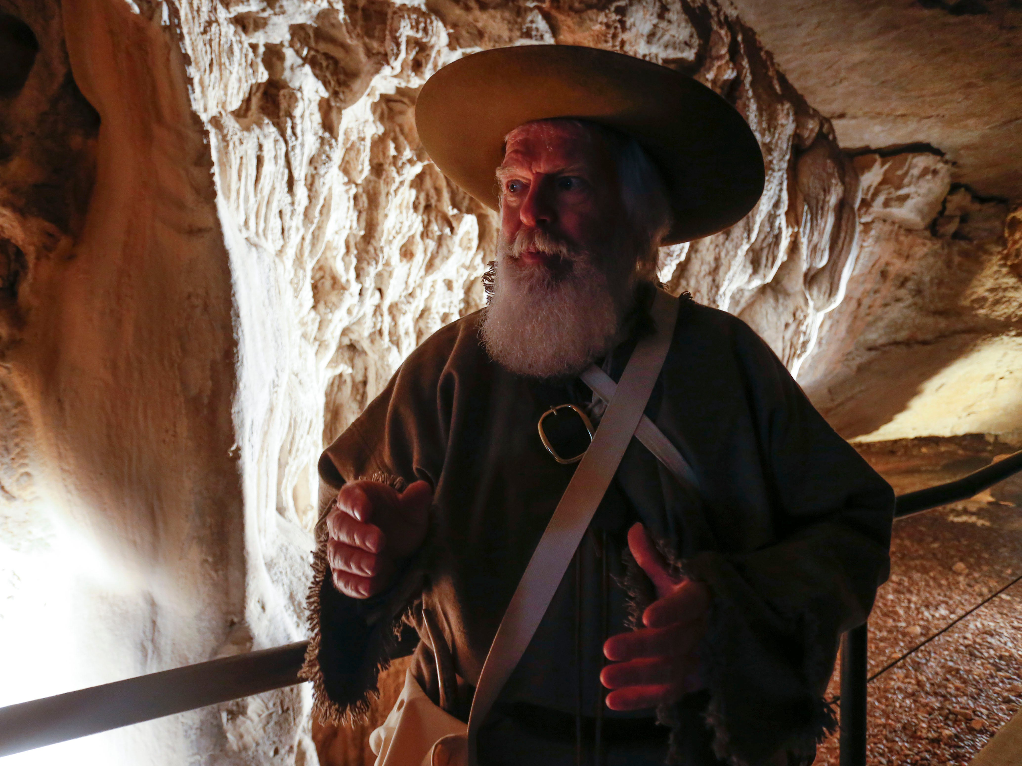 Rick Mansfield talks about recreating Henry Rowe Schoolcraft's 900-mile trek through the Ozarks at Smallin Civil War Cave on Wednesday, Jan. 2, 2019, almost 200 years to the day that Schoolcraft visited the cave.