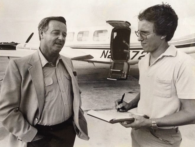 Dennis Jacob interviews legendary Florida State football coach Bobby Bowden in 1984, a few months after being hired at The Stuart News.