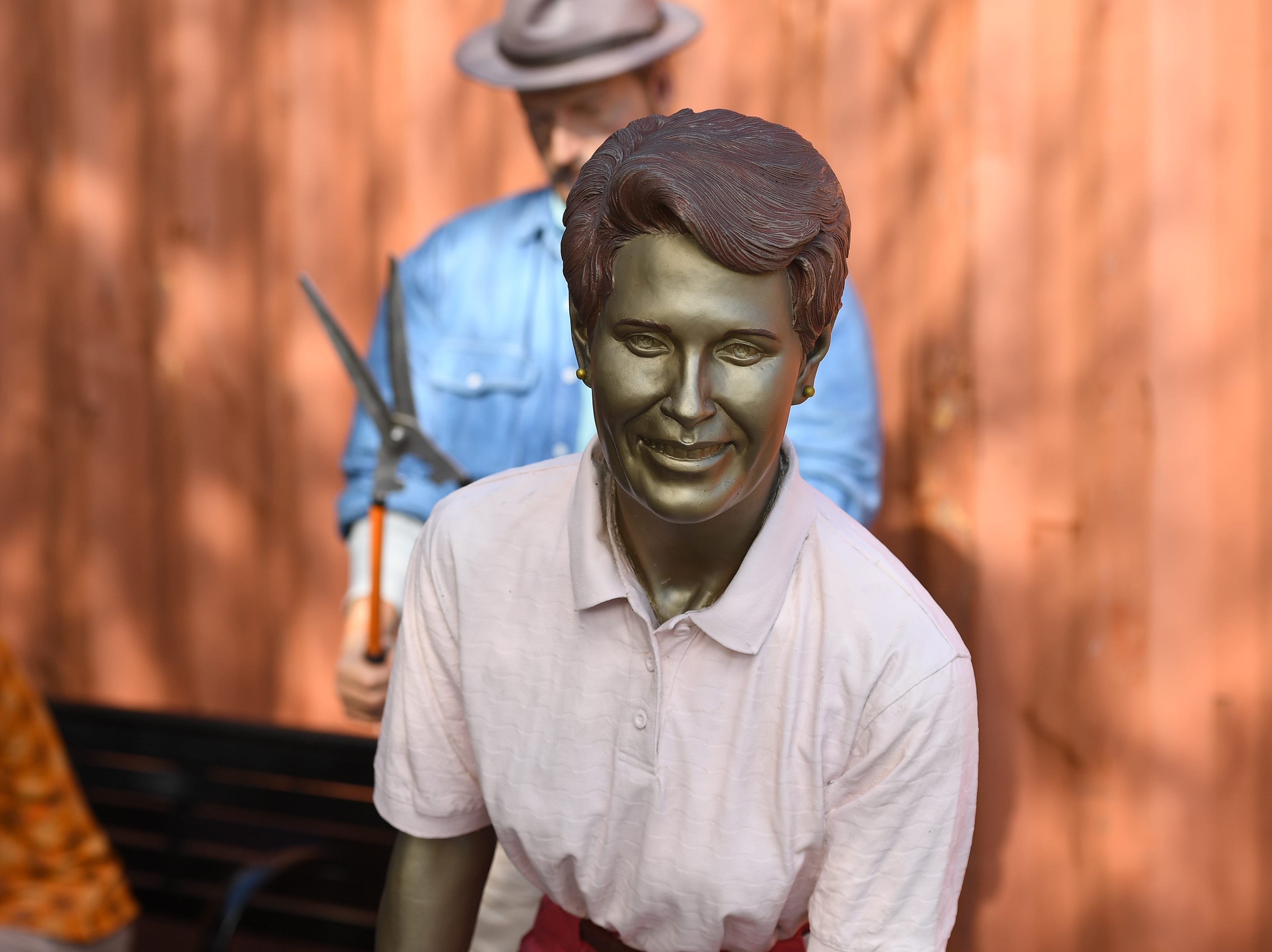 "The installation of the Seward Johnson sculpture exhibition inside McKee Botanical Garden, 350 US Highway 1, south of Vero Beach in Indian River County. Twenty life-scale bronze figures from Seward Johnson's Celebrating the Familiar series, along with the Embracing Peace bronze sculpture already on display, are placed throughout the garden through April 28, 2019. ""This is the most asked about exhibition from our visitors, and so we decided to bring it back,"" said Christine Hobart, executive Director at McKee. ""I think it appeals to people because they are so life-like, and you don't really know if they are sculpture, or worker, or person doing whatever the action is."""