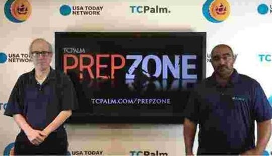 Dennis Jacob (left) and Jon Santucci prepare for another round of PrepZone football predictions during the 2018 season.