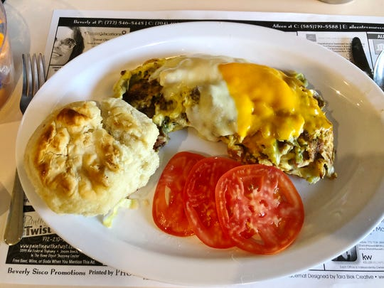 The Meaty Omelette at Rick's Diner in Port St. Lucie was soft and moist and chock full of meat.