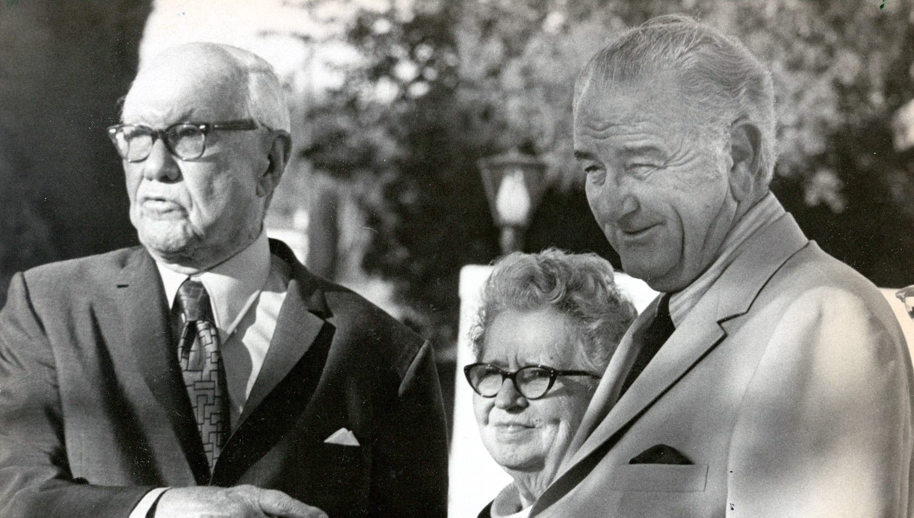 """It was a birthday visit,"" said retired U.S. District Judge R.E. Thomason, left, as he and his wife chatted with former President Lyndon B. Johnson on May 26, 1971, outside the El Pasoans' home. Johnson visited Thomason, an old friend, as a surprise for his 92nd birthday."