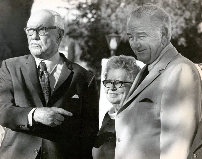 """""""It was a birthday visit,"""" said retired U.S. District Judge R.E. Thomason, left, as he and his wife chatted with former President Lyndon B. Johnson on May 26, 1971, outside the El Pasoans' home. Johnson visited Thomason, an old friend, as a surprise for his 92nd birthday."""