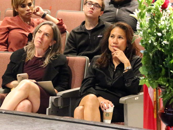 U.S. Rep. elect Veronica Escobar sits in on U.S. Rep. Beto O'Rourke's final town hall December 14 at Chapin High School. At left is Susie Byrd, Escobar's new district director in El Paso.