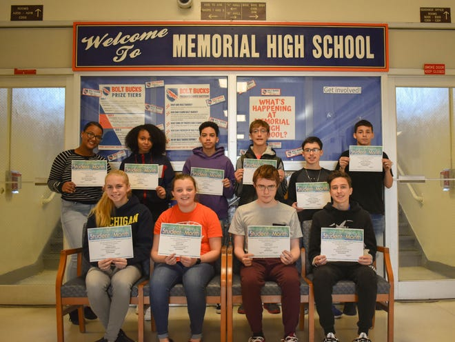 Millville Memorial High School's Students of the Month for November are (seated, from left) Hannah Runkle, Katie Clark, Colby Gandy and Austin Jacquet; and (standing, from left) Janesha White, Adianna Cruz, Alexis Matos, William Shea, Michael Hoffman and Neftali Cruz Rolan. Steven Brenoskie and Angelina Dorsey are not pictured.