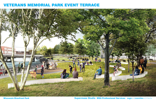 A rendering of the plans for Veterans Memorial Park.