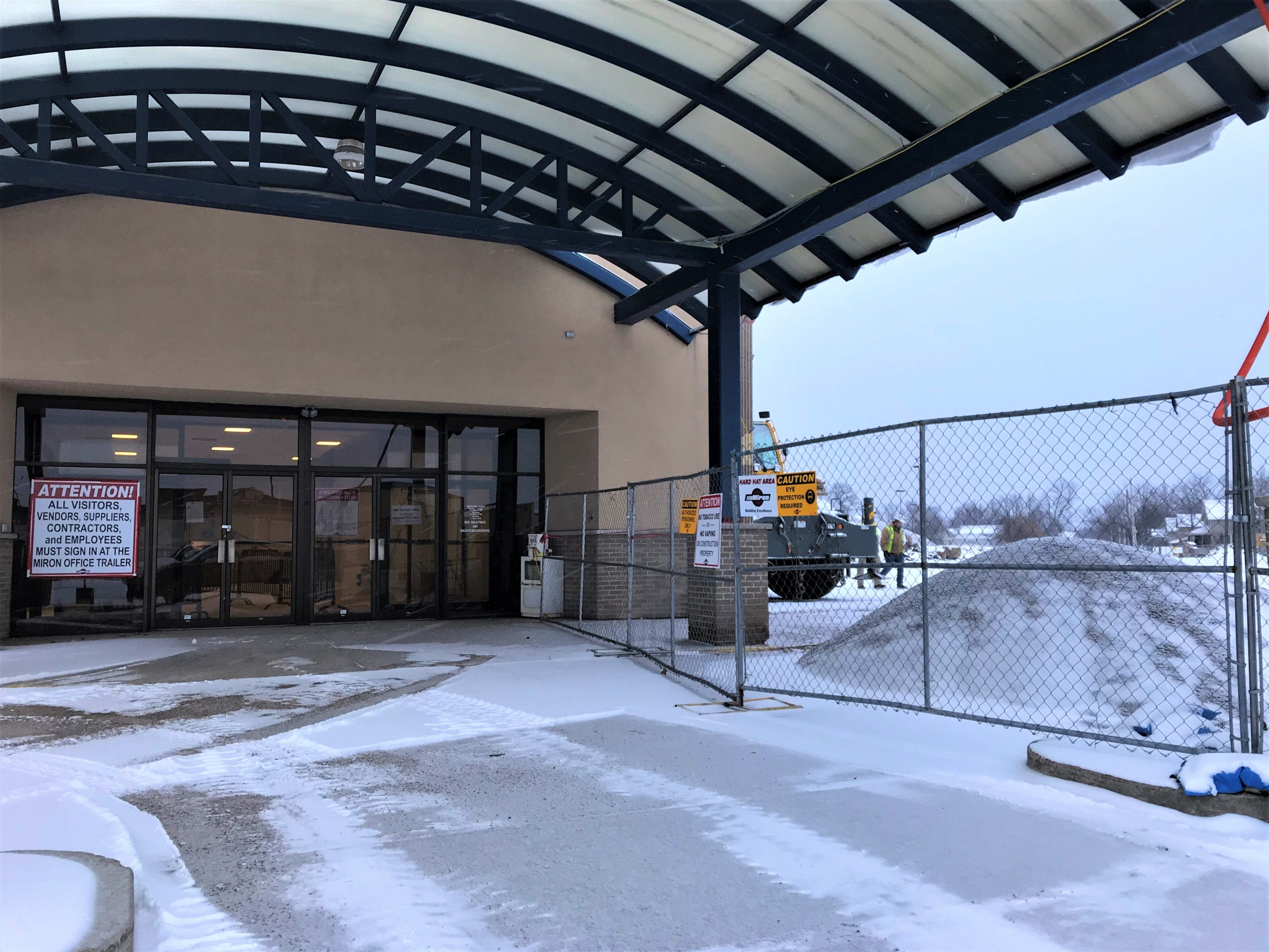 The entrance to the former Rapids Mall. Crews are preparing the site for the new YMCA and Boys & Girls Club. Photo taken Jan. 2, 2019.