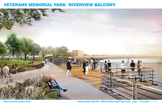 A rendering of plans for Veterans Memorial Park.