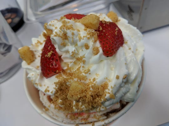 The Strawberry Cheesecake rolled yogurt at Yogurt Journey.