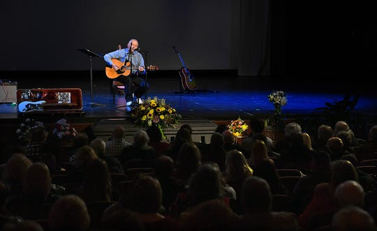Howard Skinner performs as hundreds of friends, family and fellow musicians gathered at the Wichita Theatre Wednesday to celebrate the life of Jimi Divine who died suddenly December 26.
