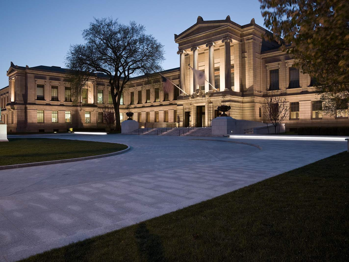 Boston is an affordable destination for January. This is the Museum of Fine Arts at dusk.
