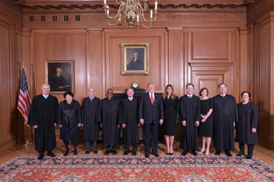 President Trump made a rare foray over to the Supreme Court in October to attend Associate Justice Brett Kavanaugh's investiture ceremony and pose for photos.