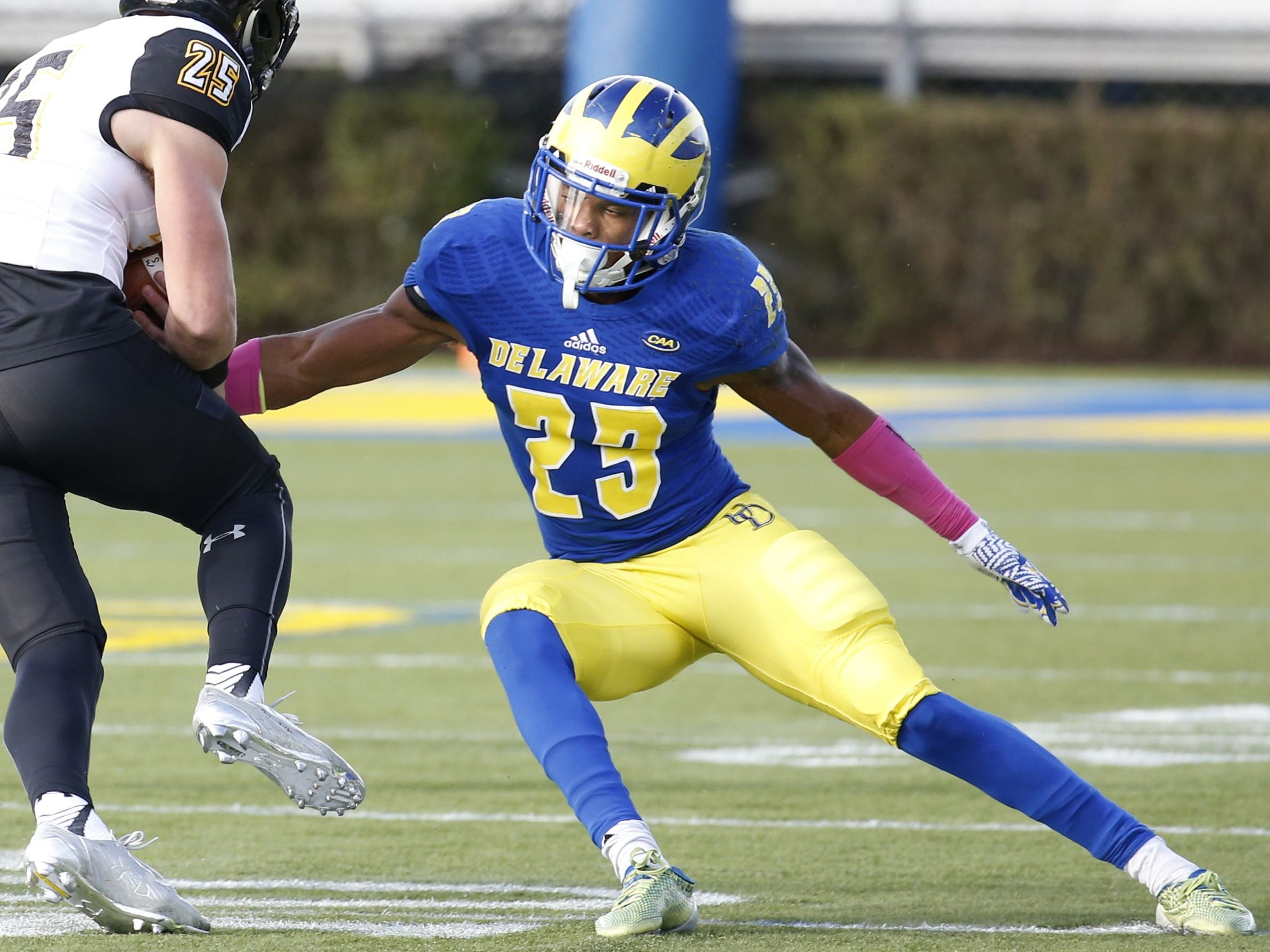 Nasir Adderley, S, Delaware:Don't be deceived by the level of competition— Adderley has a pro-level skill set. With extensive range and rapid recognition ability, he fits as the coverage presence needed for a secondary burned for more pass plays of 20-plus yards (65) than any other team.
