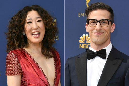 On Sunday, it's Sandra Oh and and Andy Samberg's show.