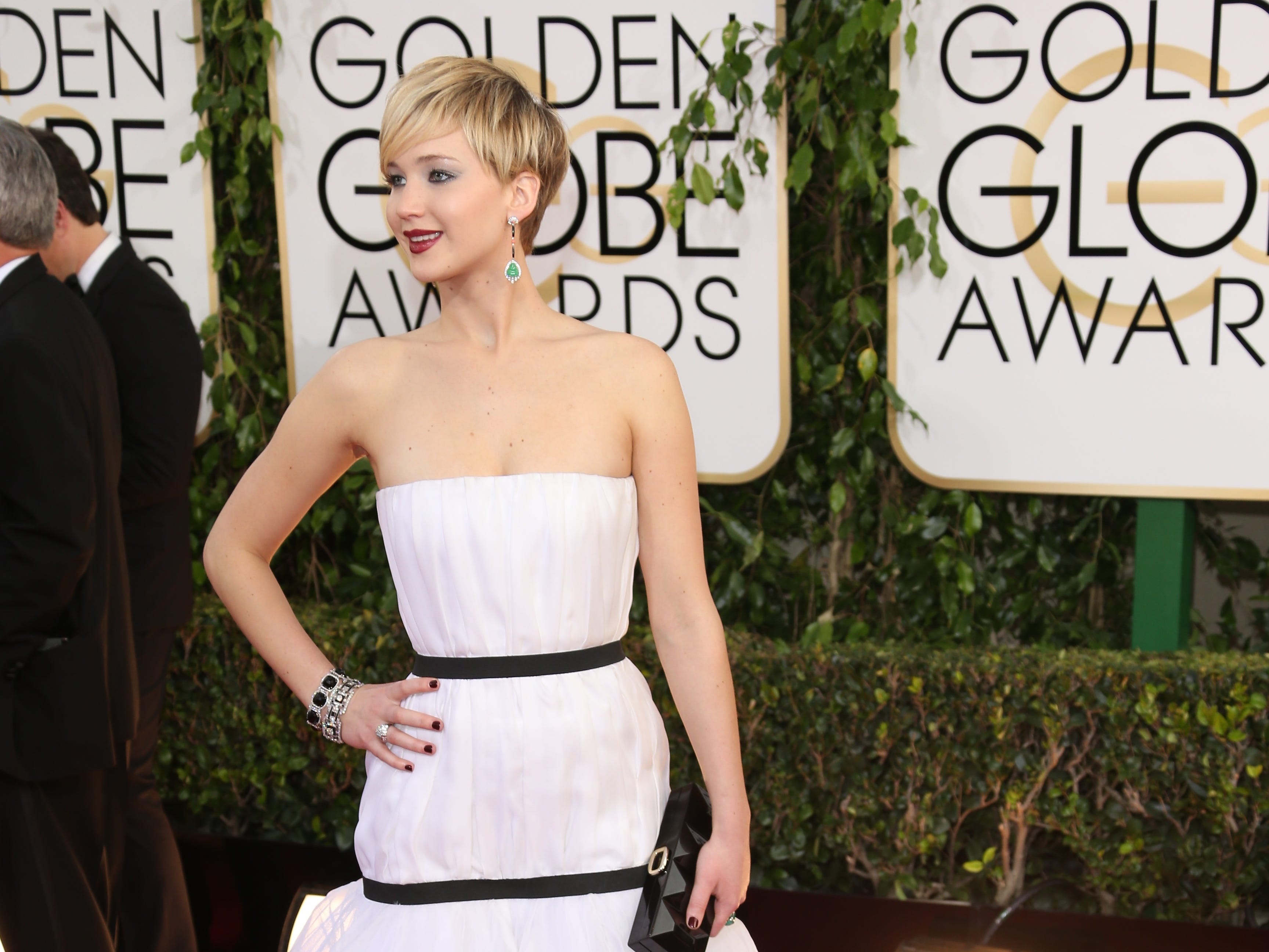 1/12/14 5:27:00 PM -- Beverly Hills, CA, U.S.A  --  Jennifer Lawrence arrives at the 71st annual Golden Globe Awards in Beverly Hills, CA --    Photo by Dan MacMedan, USA TODAY contract photographer  ORG XMIT:  DM 130549 2014 GOLDEN GLOB 1/11/2014 (Via OlyDrop)