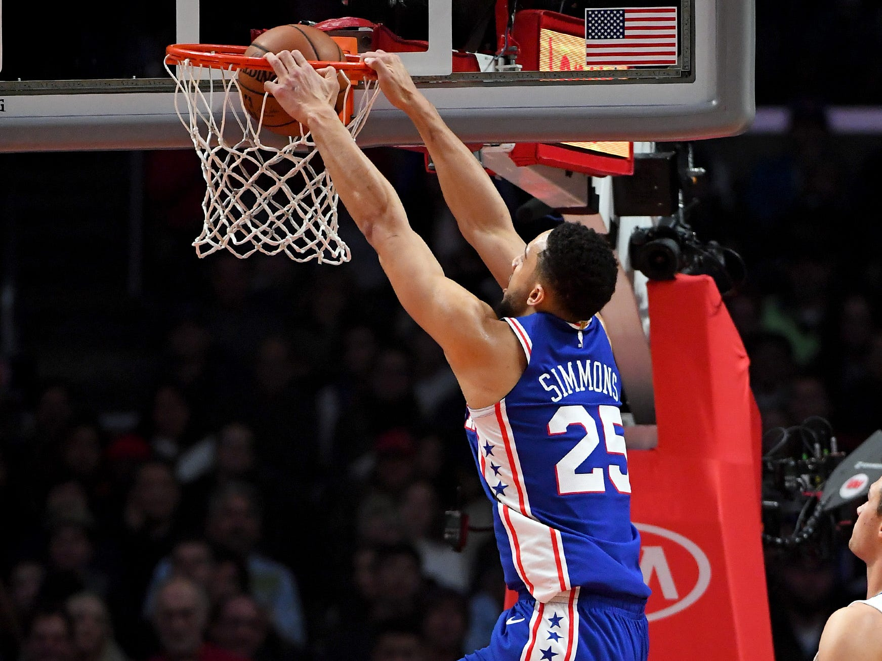 Jan. 1: Philadelphia 76ers guard Ben Simmons dunks in the first quarter against the Los Angeles Clippers at Staples Center.