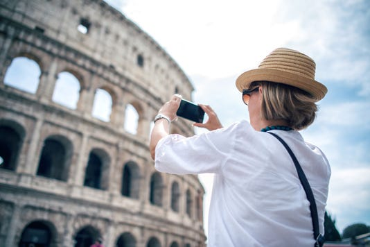 Tourist In Rome Capturing Travel Experience