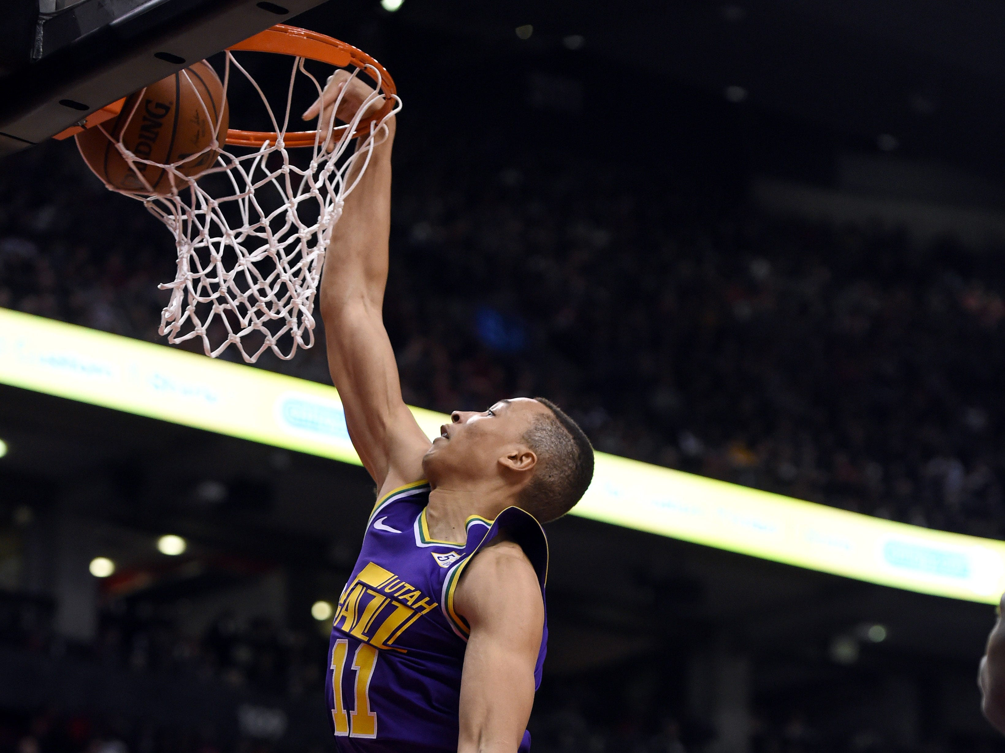 Jan. 1: Utah Jazz guard Dante Exum dunks for a basket against the Toronto Raptors in the second half at Scotiabank Arena.