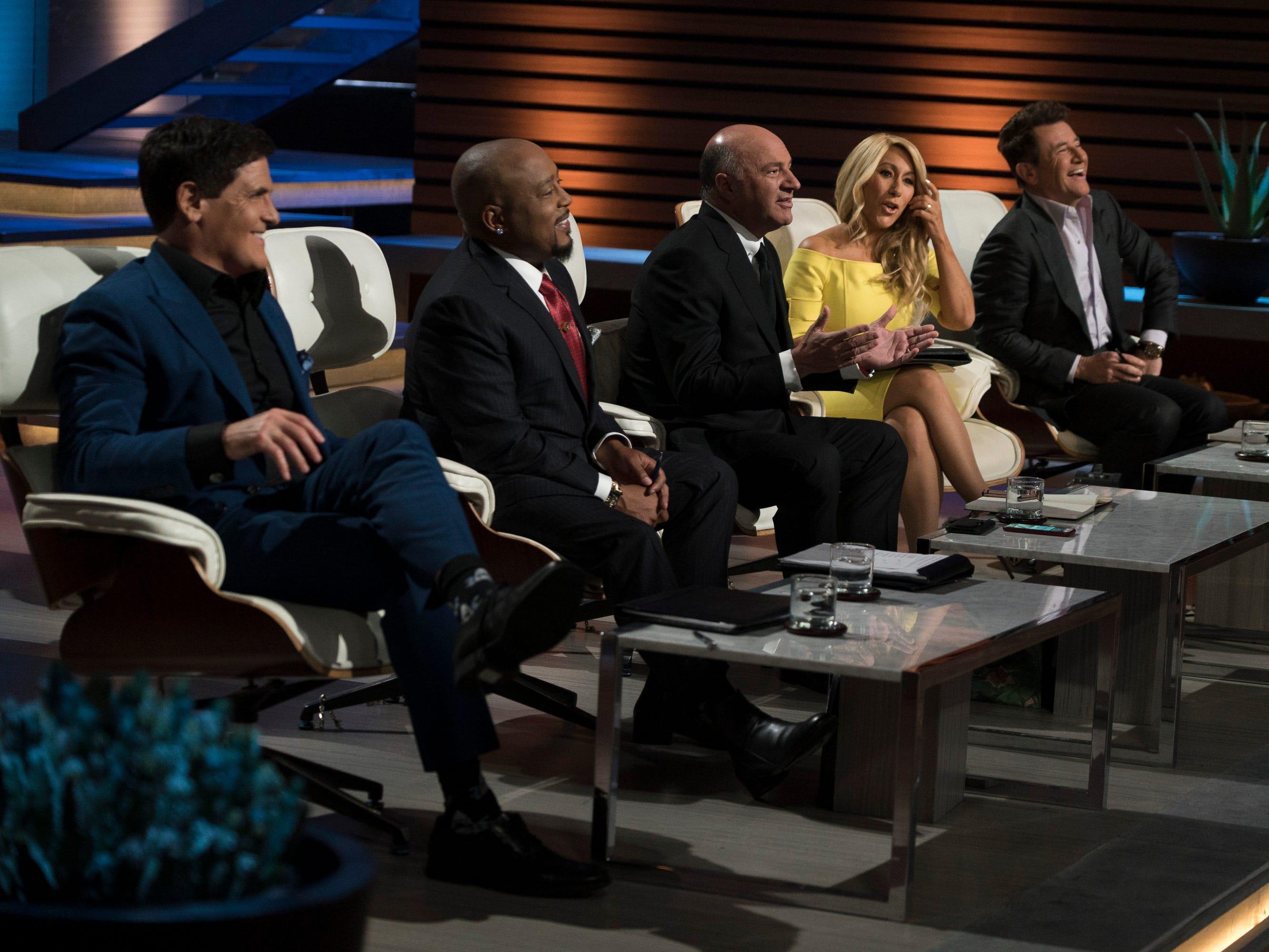 "Investor ""sharks"" (from left) Mark Cuban, Daymond John, Kevin O'Leary, Lori Greiner and Robert Herjavec on ABC's ""Shark Tank."""