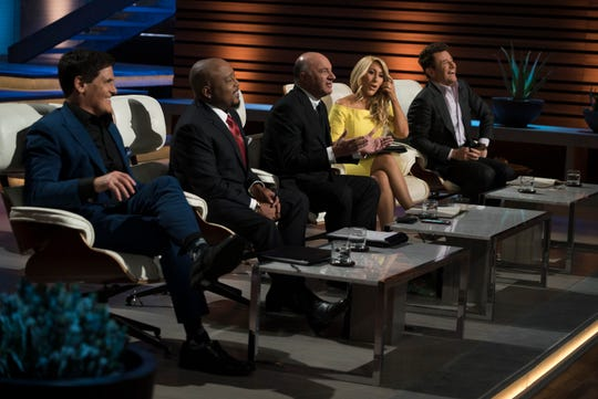 "Investor ""sharks"" (from left) Mark Cuban, Daymond John, Kevin O'Leary, Lori Greiner and Robert Herjavec on ABC's ""Shark Tank."""