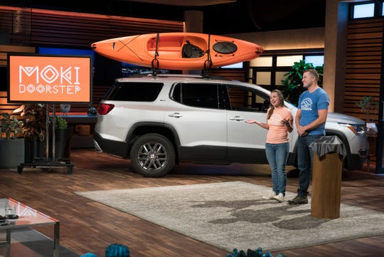 "Alyssa and Zachary Brown, an ER nurse and firefighter from Newington, Connecticut, pitch the Moki Doorstep, which hangs on a car door's frame to reach the roof, on the Jan. 6, 2019 episode of ABC's ""Shark Tank."""