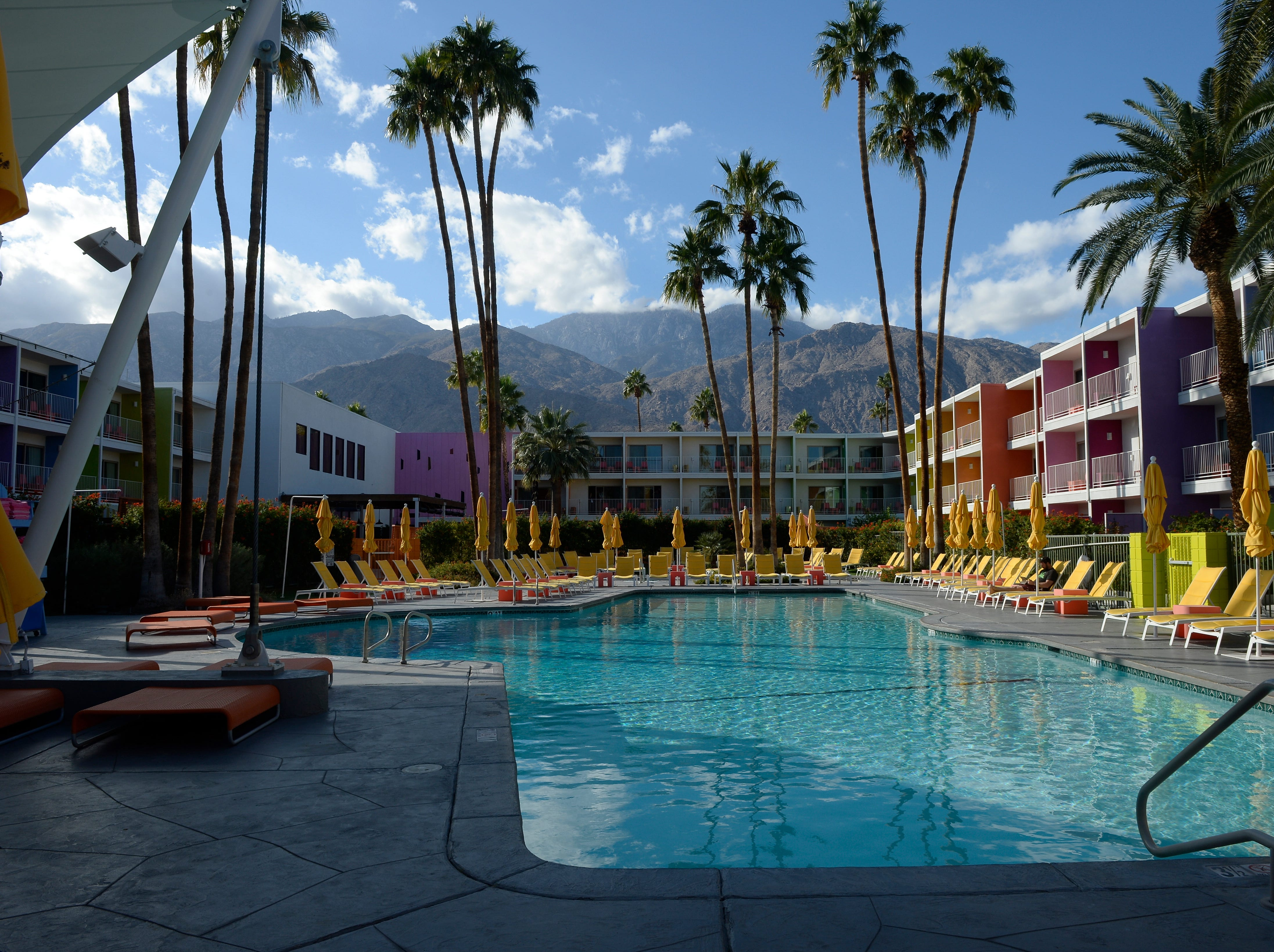 Palm Springs, California, is one of Travelzoo's top picks for affordable places to visit in the USA in January, with one-way fares from Chicago as low as $59. This is the retro-style Saguaro Hotel.
