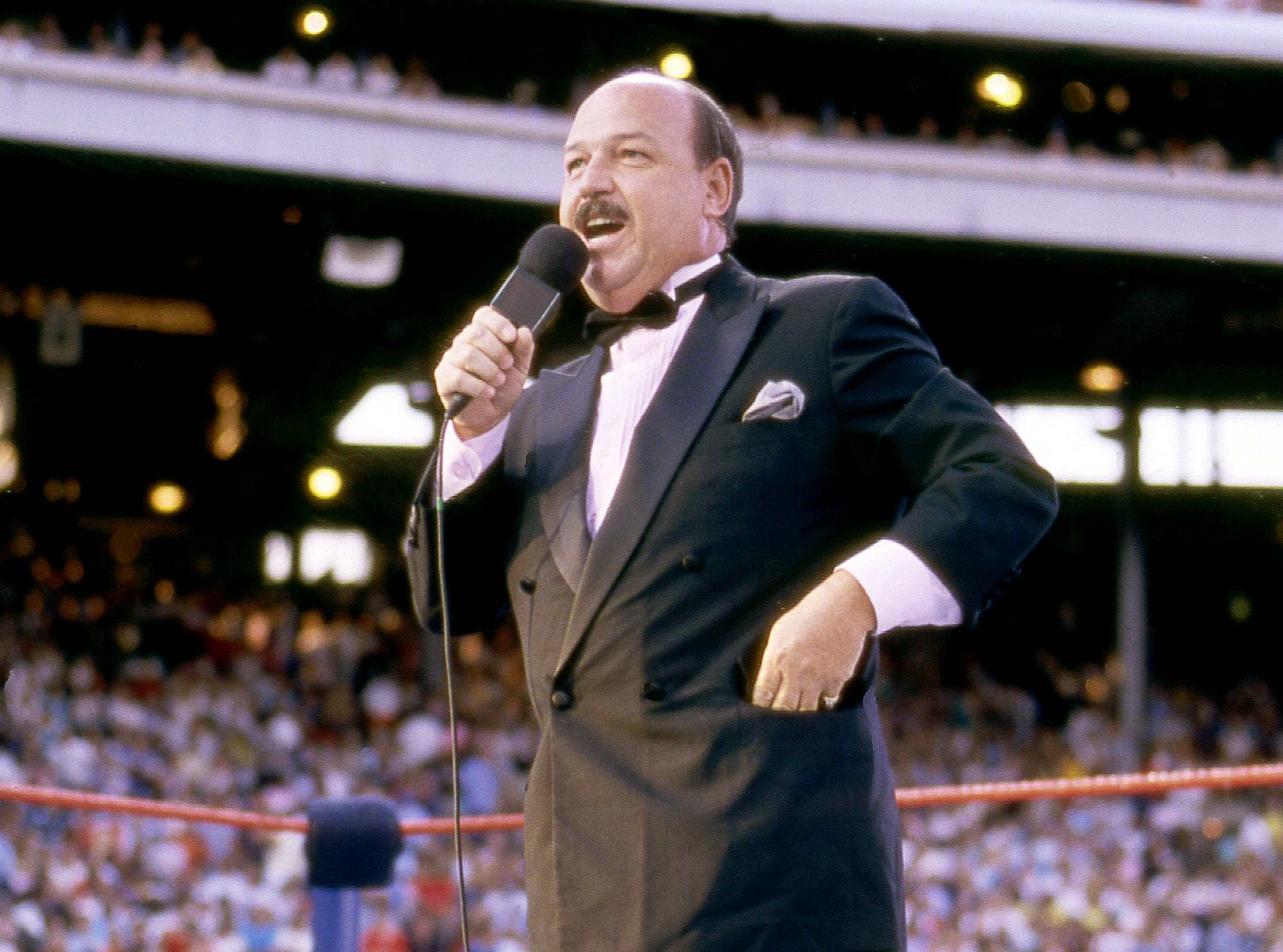 "Gene ""Mene Gene"" Okerlund, WWE announcer and interview, at 76."
