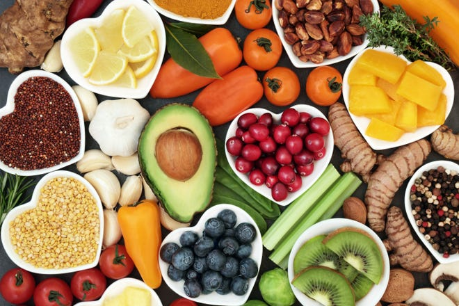 A variety of healthy foods.