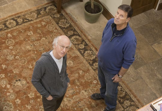 "Bob Einstein, right, has died. Here, he is shown on ""Curb Your Enthusiasm"" with Larry David"