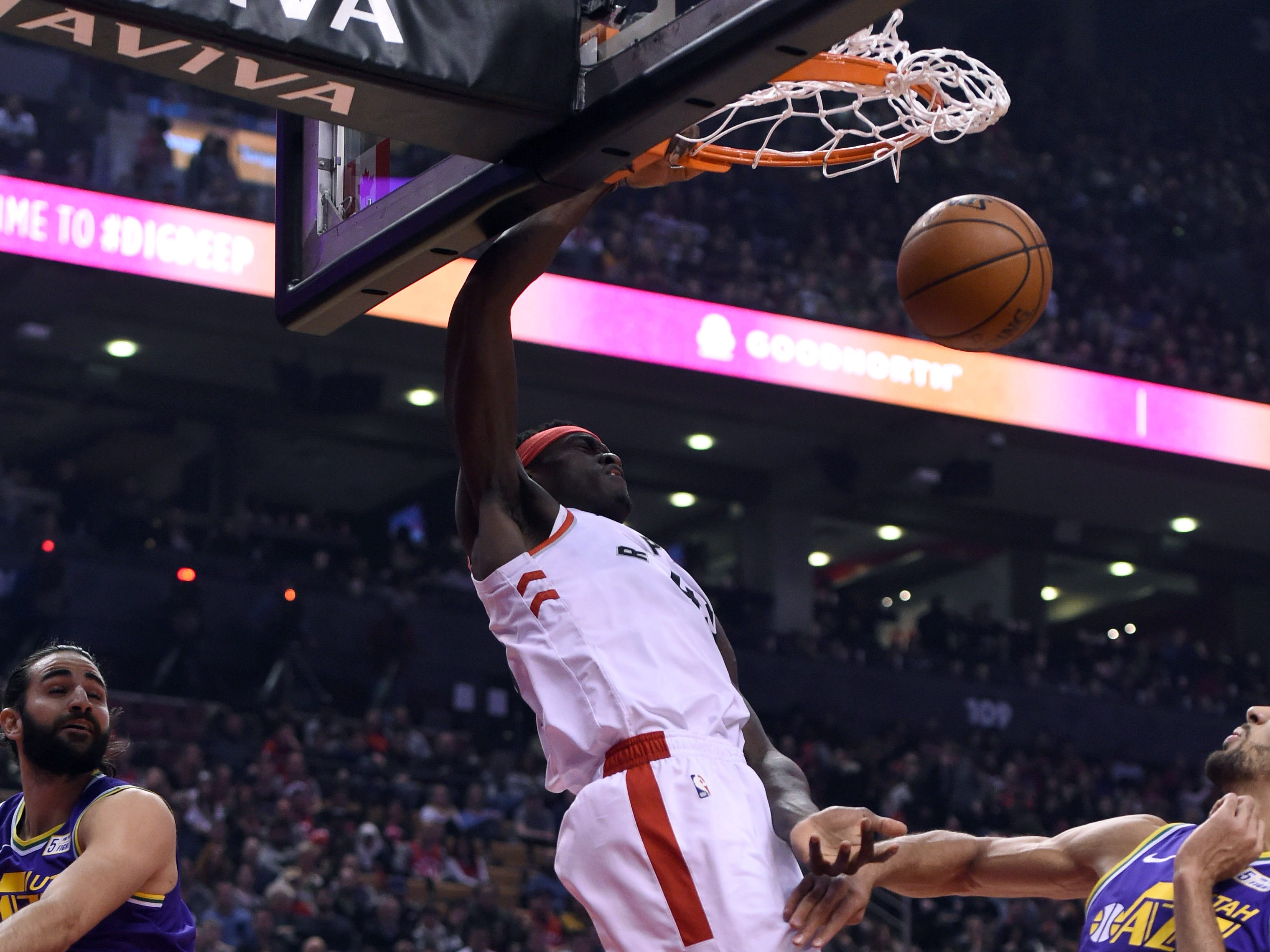 Jan. 1: Toronto Raptors forward Pascal Siakam dunks against Utah Jazz in the first half at Scotiabank Arena.