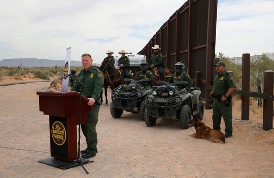 U. S. Customs and Border Protection agents at the construction on a new segment of the border wall near Santa Teresa, New Mexico.