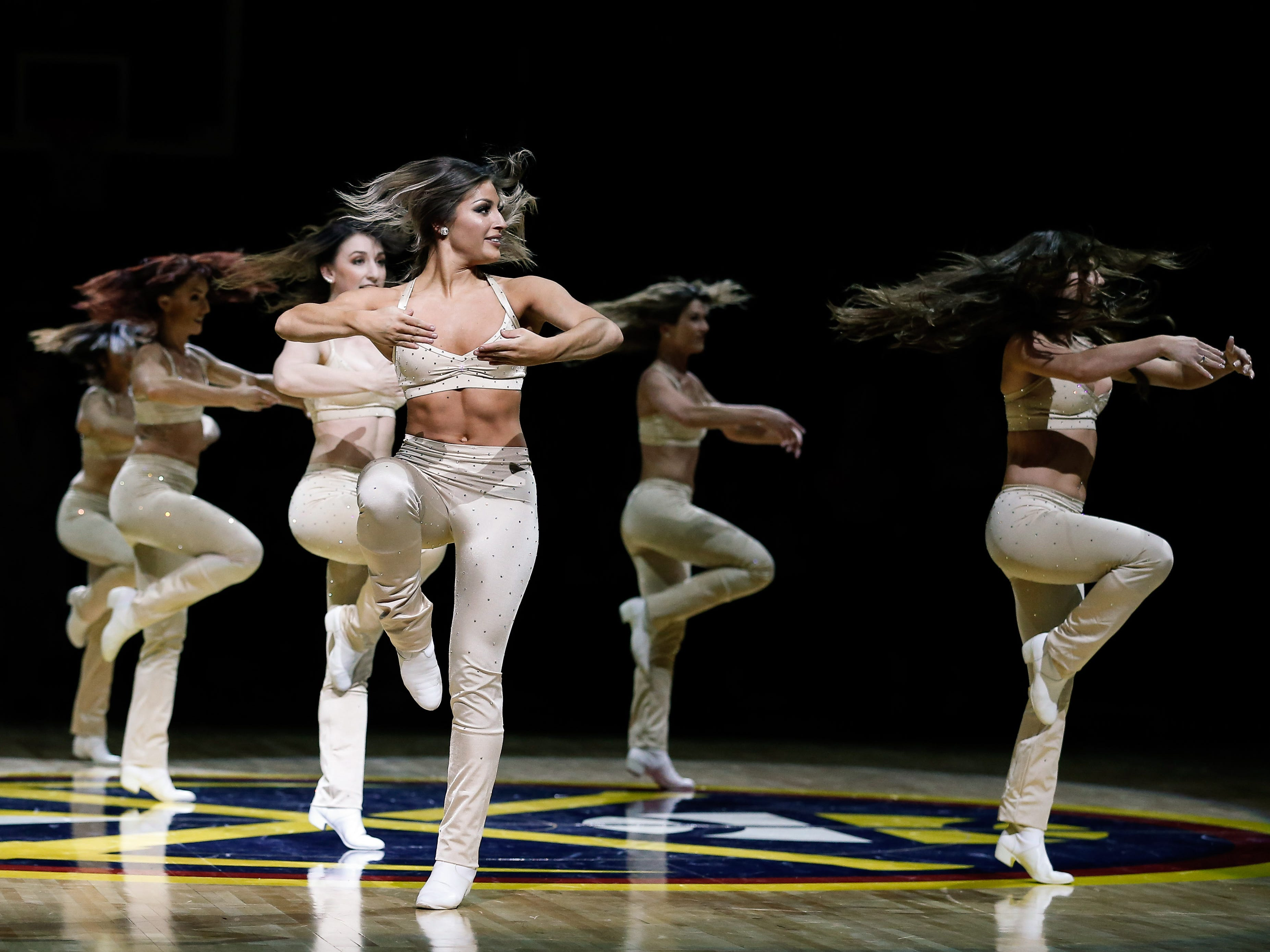 Jan. 1: The Denver Nuggets dancers perform during a break in the action in the game against the New York Knicks at the Pepsi Center.