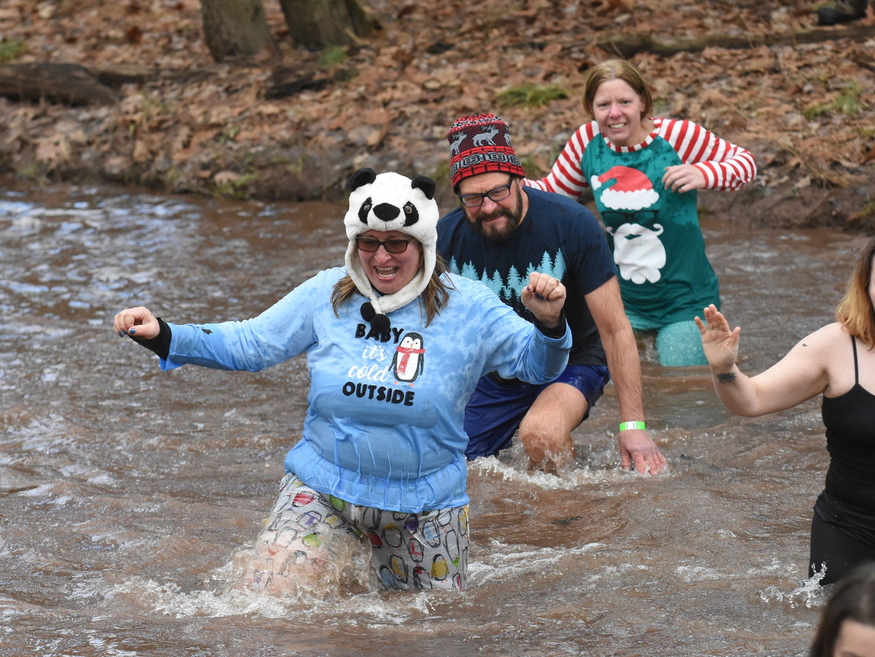 Dee Fisher, front, Randy Koppenhaver and Lisa Lasco, back, make their way across Pine Creek during the 10th annual Pine Creek Polar Bear Plunge in Valley View Park in Valley View, Pa. The event benefits Pine Creek Trout Nursery.