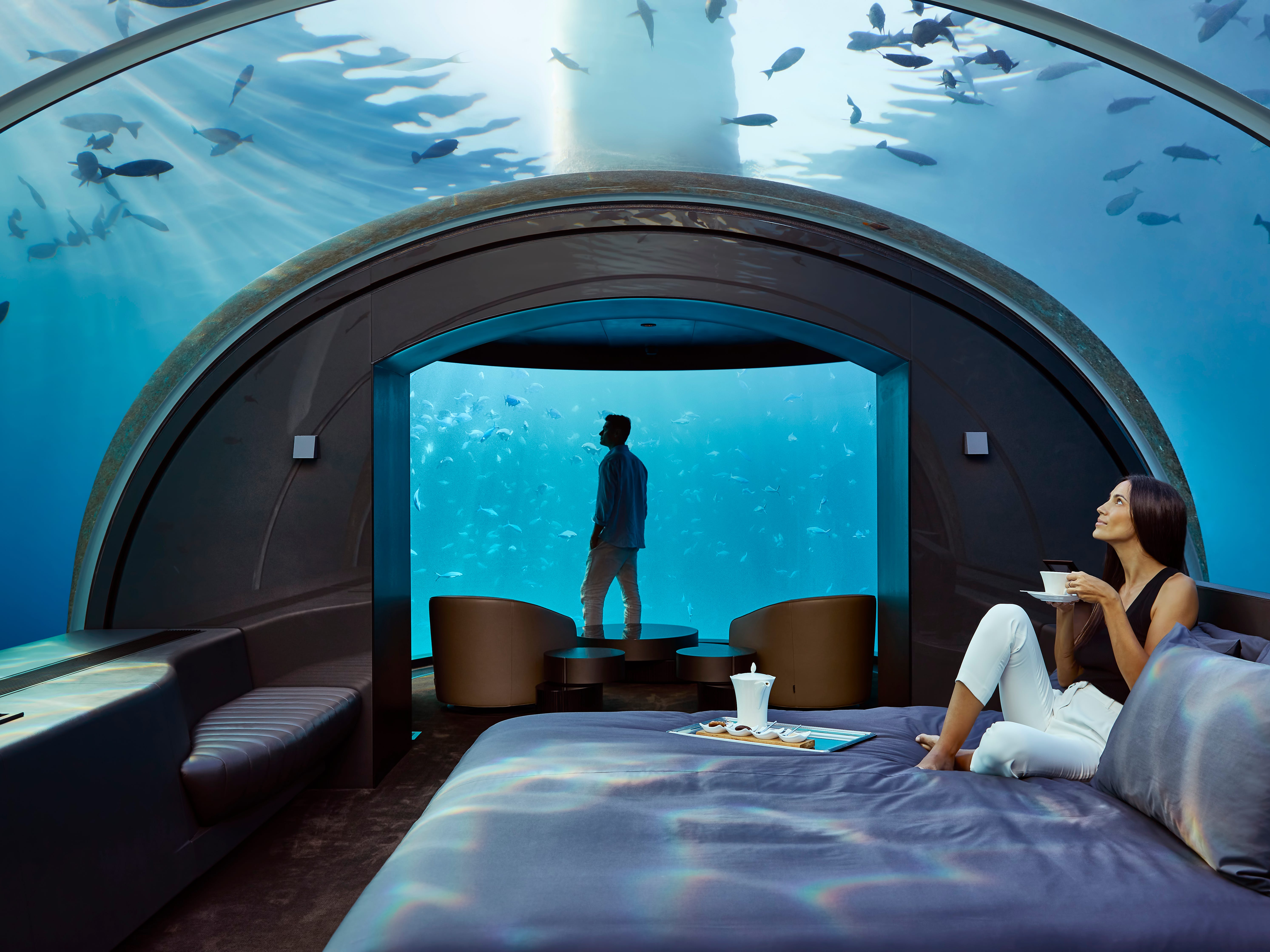 Amazing underwater hotel suite lets guests sleep with the fishes