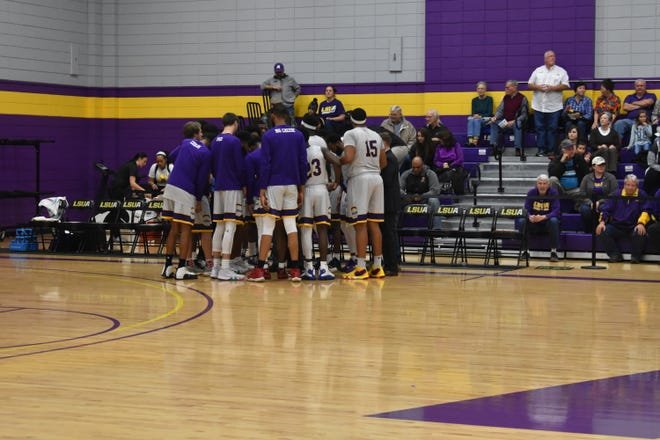 LSUA huddles before a game against Texas College.