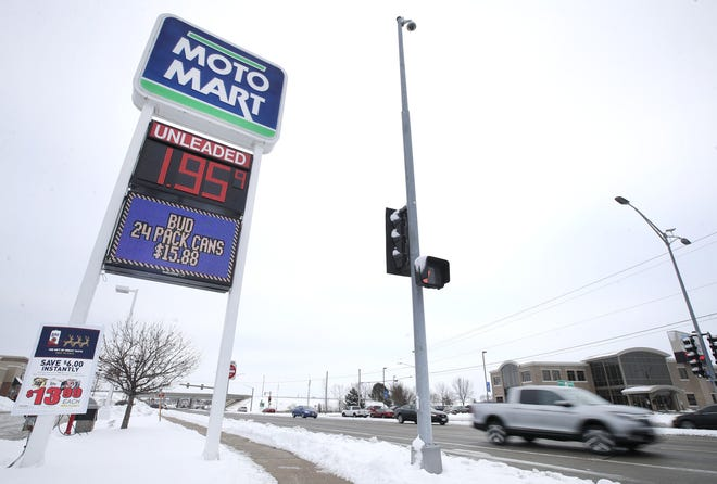 The price of gas Thursday was $1.95 a gallon at the MotoMart on East Calumet Street in Appleton.