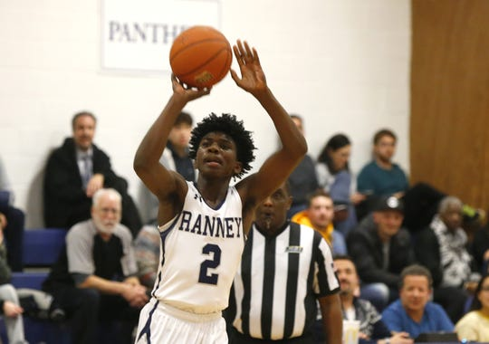 Elijah Perkins (2) of Ranney School shoots against Asbury Park during boys high school basketball in Tinton Falls, N.J. Thursday, December 20, 2018 Noah K. Murray-Correspondent/Asbury Park Press