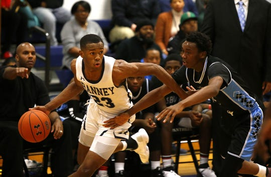 Scottie Lewis (23) of Ranney School dribbles the ball against Jayson Freedman (30) of Asbury Park during boys high school basketball in Tinton Falls, N.J. Thursday, December 20, 2018 Noah K. Murray-Correspondent/Asbury Park Press