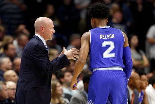 Seton Hall Pirates head coach Kevin Willard talks to guard Anthony Nelson (2) during the second half against the Xavier Musketeers at the Cintas Center.