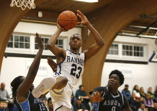 Scottie Lewis (23) of Ranney School goes to the basket against Asbury Park defenders during boys high school basketball in Tinton Falls, N.J. Thursday, December 20, 2018 Noah K. Murray-Correspondent/Asbury Park Press