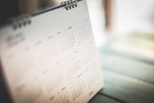 Blurred Calendar Page Blue Background