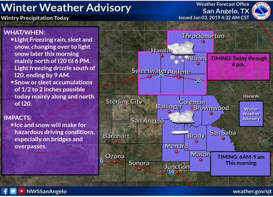 Weather advisory from the National Weather Service San Angelo office on Jan. 3, 2019.