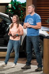 """SHARK TANK - """"Episode 1008"""" - First into the Tank is a husband and wife team from Newtown, Connecticut, who pitch their simple and brilliant rooftop assistance design that helps access your vehicle's roof with one easy step; entrepreneurs from Chicago, Illinois, present their fitness workout that offers a softer, lower impact alternative to the treadmill; a teen entrepreneur from West Bloomfield, Michigan, introduces his solution for making the perfect coffee at home with his cold brew kit; a mom from Walnut Creek, California, presents her simple baby seat that sits right on your hip and makes it easier to carry your baby, on """"Shark Tank,"""" SUNDAY, JAN. 6 (9:00-10:01 p.m. EST), on The ABC Television Network. (ABC/Eric McCandless)ALYSSA BROWN AND ZACHARY BROWN (MOKI DOORSTEP)"""