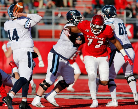 Former Olympic High football standout Keith Moore (72) helped Eastern Washington rout Maine 50-19 in a FCS semifinal game on Dec. 15. The Eagles play North Dakota State for a national championship Saturday in Frisco, Texas.