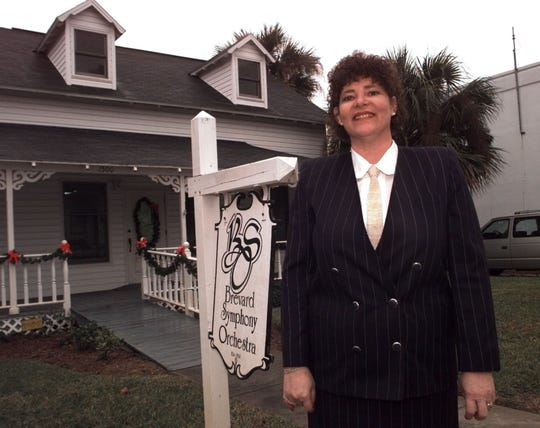 """Our goal was to take the orchestra to the people,"" said Fran Delisle, shown here in 1996 in front of the Brevard Symphony House in the Eau Gallie Arts District."