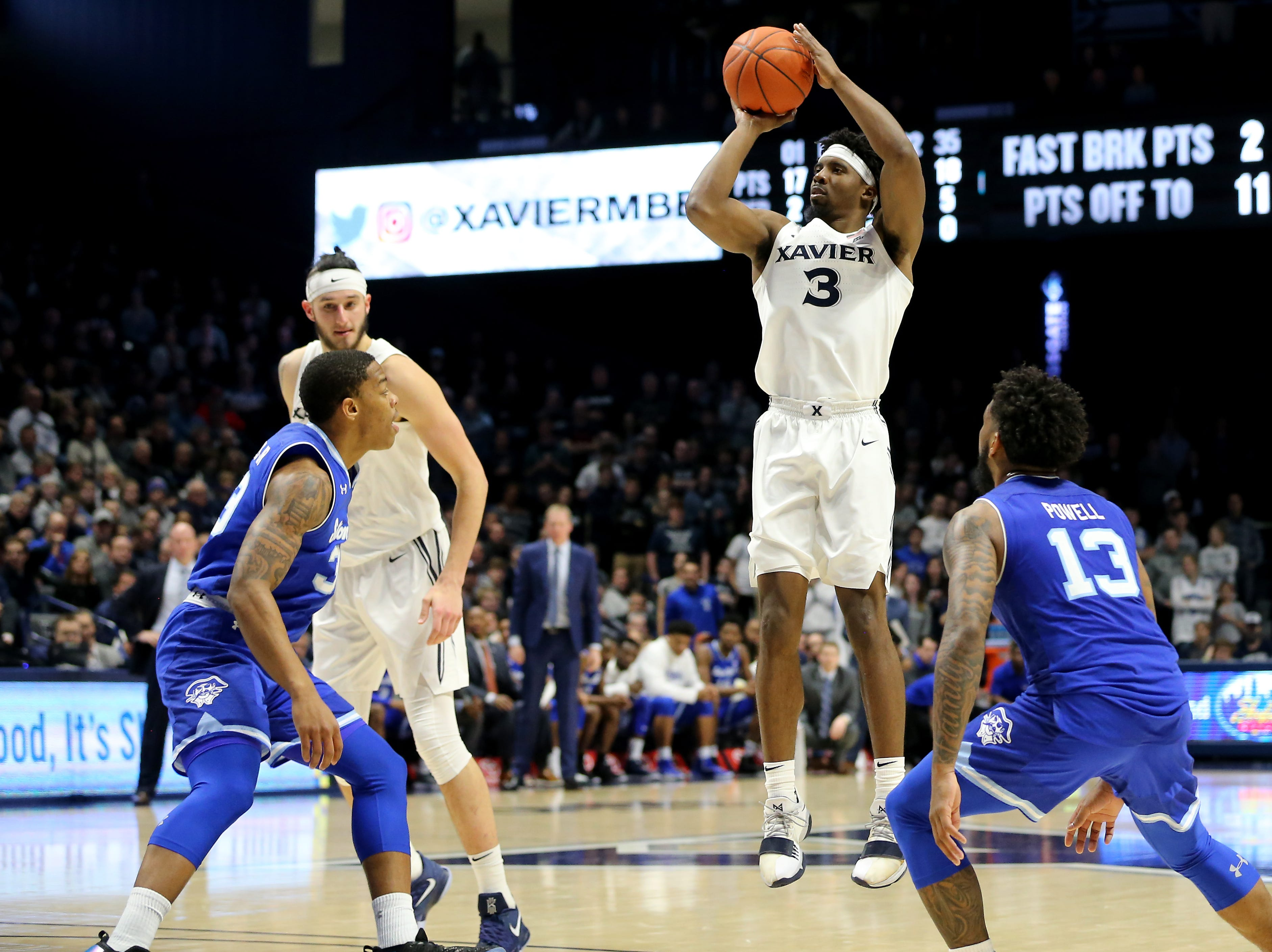 Xavier Musketeers guard Quentin Goodin (3) rises for a shot in the second half of an NCAA college basketball game against the Seton Hall Pirates, Wednesday, Jan. 2, 2019, at the Cintas Center in Cincinnati. Seton Hall won 80-70.