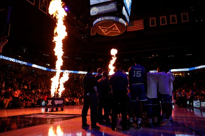 The Seton Hall Pirates wait as the Xavier Musketeers are introduced before tipoff of the first half of an NCAA college basketball game, Wednesday, Jan. 2, 2019, at the Cintas Center in Cincinnati.