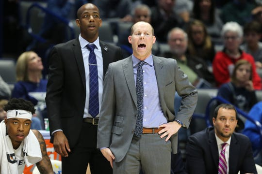 Xavier Musketeers head coach Travis Steele instructs the team in the second half of an NCAA college basketball game against the Seton Hall Pirates, Wednesday, Jan. 2, 2019, at the Cintas Center in Cincinnati. Seton Hall won 80-70.