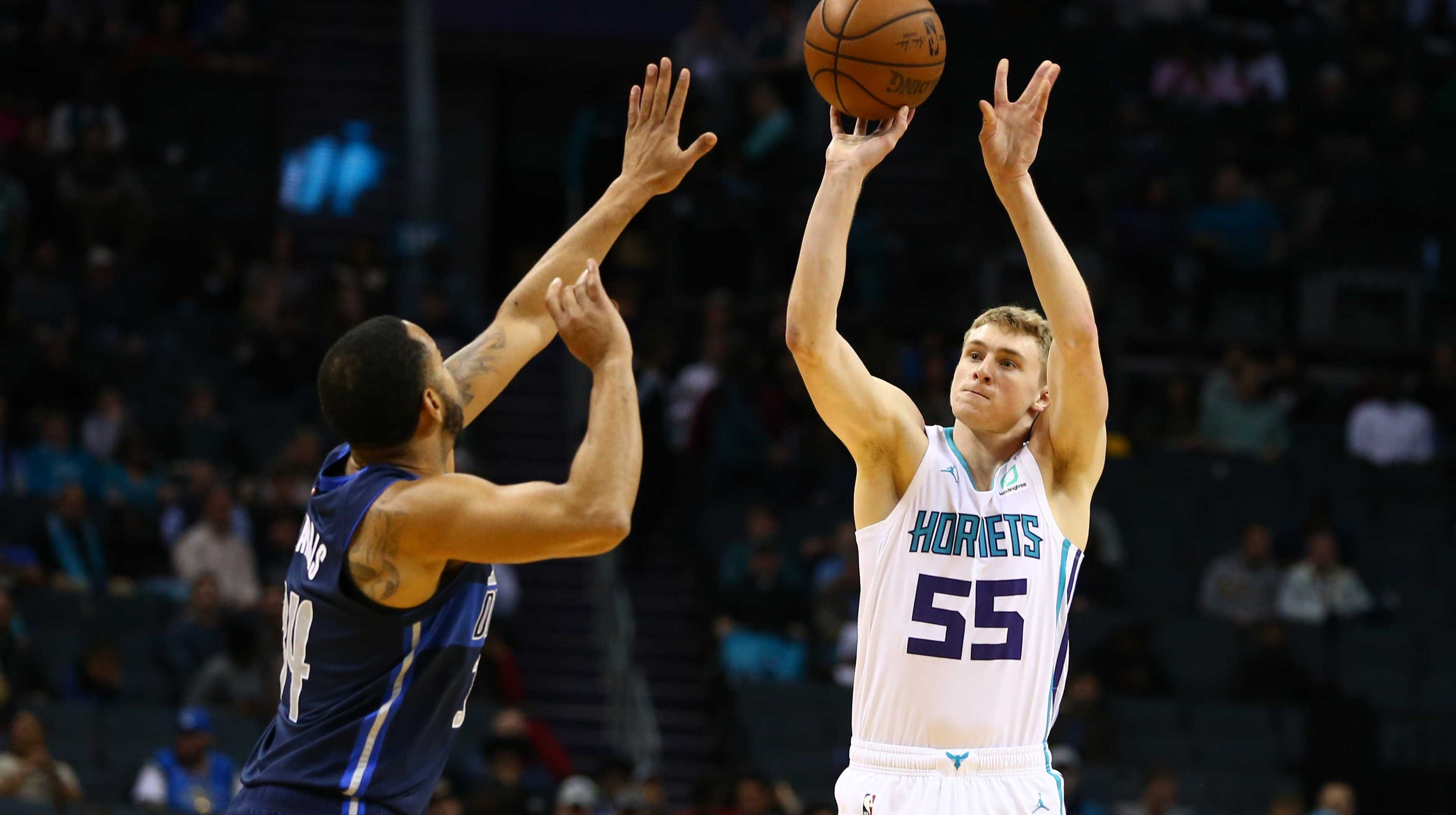 8f9dcddaf4b9 Watch  J.P. Macura scores first NBA basket for Charlotte Hornets against  Dallas Mavericks